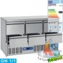 TABLE FRIGO. COMPACT 3 PORTES GN1/1 380L