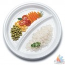 "ASSIETTE RONDE ""SNACK"" 2 COMPARTIMENTS 22 CM. BLANC"