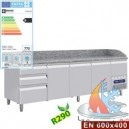 TABLE FRIGO 2 P.600x400 + 3 TIR. NEUTRES